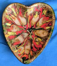 Vintage J. Betourne Limoges Enamel Heart Dish Bowl Orange Yellow Copper