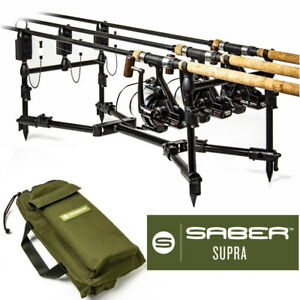 Saber Supra Rod Pod For 2 or 3 Rod Set Up With Carry Case Bag Carp Fishing