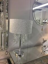 Sparkly Silver Mirror Crushed Crystal Effect Glass Droplets Glitter Table Lamp