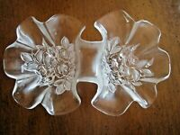Vintage Raised Flower & Leaf Shaped Clear Glass Candy / Nut / Snack Bowl / Dish