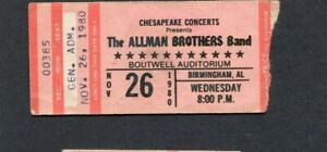 1980 Allman Brothers Concert Ticket Stub Birmingham Alabama Reach For The Sky