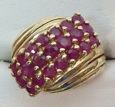 REAL 10k Yellow Gold 0.80 CTW 21 RUBY CLUSTER Ring 3.9g Ring Size 4.75
