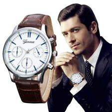 Retro Design Leather Band Analog Alloy Quartz Wrist Watch Men Wristwatch Brown