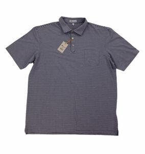 NEW Peter Millar Crown Sport Mens Golf Polo Shirt Striped Navy White Mens Sz XL