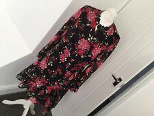 Marks & Spencer Black/Red Floral Wrap Dress Size 18 Chiffon Feminine Stylish