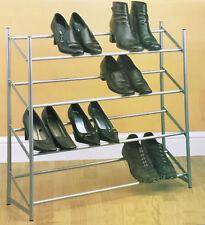 4 Tier Stackable Shoe Rack (Shoes Storage Organiser Holder Bedroom Boot Trainer)