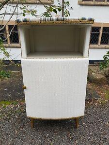 Vintage Mid Century Loom Style Painted Wicker/Woven Bedside Cabinet Atomic Legs
