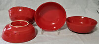 NEW! TARGET HOME (4) Soup / Cereal / Salad Bowls RED RIBBED stoneware