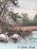 Postcard Swans, A Quiet Nook Vintage British Postcard P45