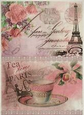 Rice Paper Vintage Tea Time Paris for Decoupage Decopatch Scrapbook Craft Sheet
