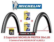 """2 Copertoni MICHELIN PROTEK 26x1,85 Antiforatura + Camera per Bici 26"""" Passeggio"""