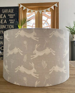 ** SALE ** 30CM DRUM LAMPSHADE JUMPING LEAPING RUNNING HARES RABBITS FABRIC GREY