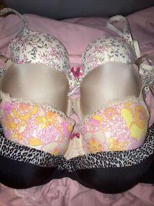 Lot Of 4 Victoria's Secret  Bras Size 34DD Lined Demi