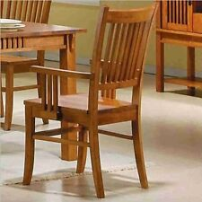Coaster Set of 2 Dining Arm Chairs Mission Style Medium Brown Finish, New, Free