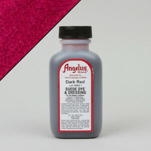 Angelus DARK RED SUEDE DYE 3oz Bottle Industry Strength Dye Vibrant Colors