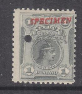 PERU, 1909 Manco Capac, 1c. Slate Grey, ABN Punched Proof, SPECIMEN in Red, mnh