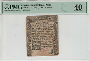 JULY 1 1780 9 PENCE CONNECTICUT COLONIAL NOTE CURRENCY CT-233 PMG EF XF 40 (370)