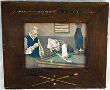 Antique Wooden Frame Crossed Cues & Scoring Beads Print Old Men Playing Pool