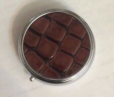 BROWN, BLACK or RED faux CROC Small Round Silver Pillbox w/ 3-compartments