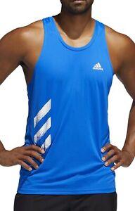 adidas Own The Run 3 Stripes PB Mens Running Vest - Blue