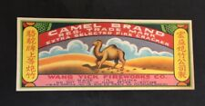 Vintage Chinese Wang Yick firecracker label CAMEL BRAND (60); no crackers! fcp98
