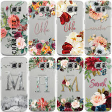 PERSONALISED FLORAL TRANSPARENT & NAME PHONE CASE COVER FOR SAMSUNG GALAXY