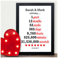 PERSONALISED 1st Anniversary Gifts for First Wedding Anniversary Husband Wife