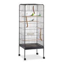 Vogelvoliere, Vogelkäfig, Papageienkäfig, mit Ständer, rollbar, Metall, schwarz