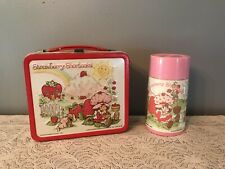 Vintage 1980 Strawberry Shortcake Metal  Lunchbox and Thermos