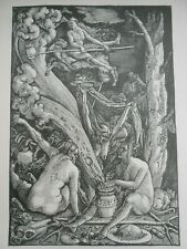 ANTICA INCISIONE STAMPA STREGHE, WITCHES WOODCUT HANS BALDUNG GRIEN CM 29X20