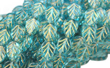 25 AQUAMARINE WITH GOLD INLAY GLASS LEAF BEADS 10MM LIMITED