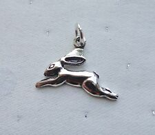 HARE LEAPING PAGAN GODDESS WICCA 3D CHARM 925 STERLING SILVER
