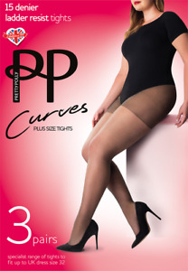 3 Pairs Pretty Polly Curves 15 Denier Ladder Resist Tights XL- 3XL NEW DARK NUDE