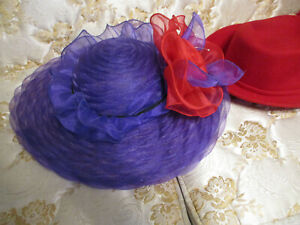 Lot of 4 Brimmed Red and Purple Vintage Hats