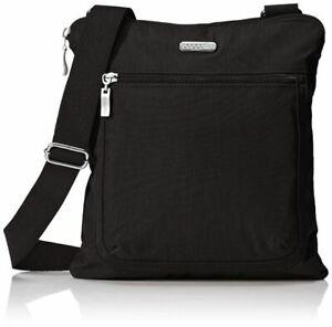 Baggallini Pocket Slim Crossbody Black Shoulder Bag Travel Purse Medium Casual