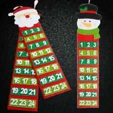 Christmas Santa Wall Calendar Xmas Snowman Calendar Banner Hanging Craft Decor