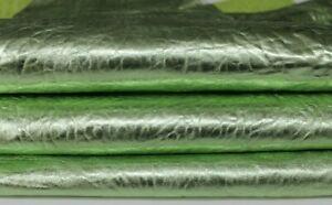 WASHED METALLIC LIME GREEN veg tan Lambskin leather 2 skins 9sqf 1.5mm #A7188