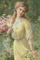 LMOP671  100% hand painted long hair girl hold flowers art oil painting canvas