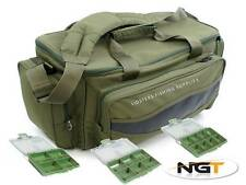 Brand New Green Carp Fishing Tackle Bag Holdall + 3 Tackle Bit Boxes NGT