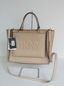 NEW DKNY Egg Nog Leather Satchel Crossbody Tote Shoulder Bag