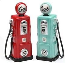 Road Trip Retro Gas Station PUMPS Ceramic Salt and Pepper Shakers 62505 S&p Set