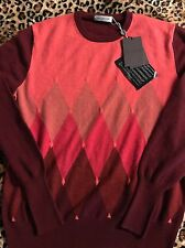 Nwr Ballantyne Mens Diamond Pull V Wool/cashmere  Rossi 56 Made In Italy