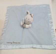 """Carters Zebra Lovey Security Blanket  mommy loves me satin blue rattle toy 15"""""""