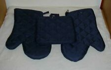 Set of 4 ~ Navy Blue Oven Mitts Mitt Pot Holders New Free Shipping