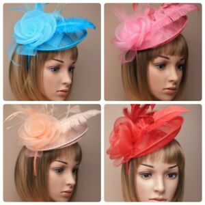 Fascinator hat in sinamay with headband for Ascot,Races,Ladied Day, Weddings