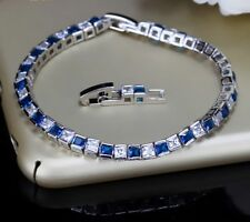 18K white gold Finish elegant high fashion 3.40CT Blue diamond tennis bracelet