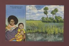 USA Florida ethnic Native American Seminole INDIAN and papoose Used 1958 PPC