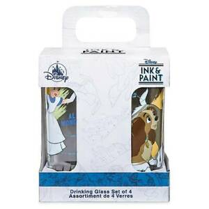 Disney Parks Ink & Paint Drinking Glass Set 1 '40s '60s New with Box