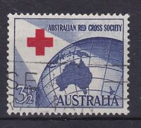 APD499) Australia 1954 3½d Red Cross, slogan used with misplaced cross