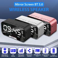 Led Digital Alarm Clock Fm Radio Bluetooth5.0 Speaker Usb Charger Mirror Display